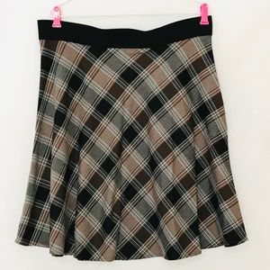 Karen Kane XL Skirt Elastic Waist Brown Plaid NEW
